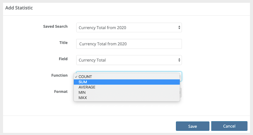 Creating a Currency Total Widget over a Date Range